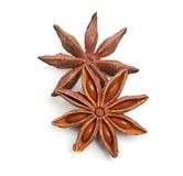 Two whole star anise isolated on white background Stock Photo