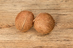 Two whole uncut coconuts Royalty Free Stock Image