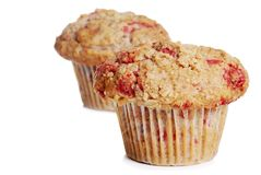 Two whole wheat raspberry muffins Stock Photos