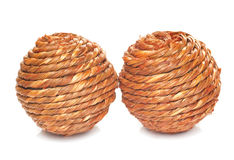 Two wicker balls. Isolated on white Royalty Free Stock Image