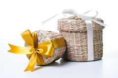 Two wicker boxes Royalty Free Stock Photo