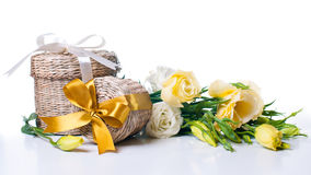 Two wicker gift boxes Royalty Free Stock Photo
