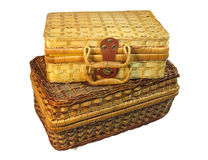 Two wicker hamper isolated with clipping path. Two brown wicker hamper isolated with clipping path Royalty Free Stock Images