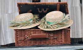 Two wicker hats Stock Photo