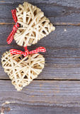 Two Wicker Hearts Stock Photography