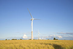 Two wind power generator on the field on a summer evening Stock Photo