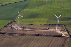 Two Wind turbines stock image