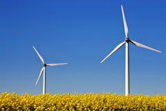 Two wind turbines. Wind turbines in a rape field Stock Photos