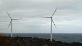Two wind turbines oceanfront. stock video