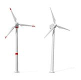 Two wind turbines on white background Stock Photo