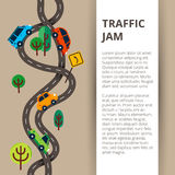 Two winding roads with colorful cars and road sign in modern fla. T style for web banners and info graphics royalty free illustration