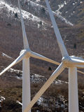 Two windmills detail. Closeup of two windmill/turbines at a windmill farm Stock Images