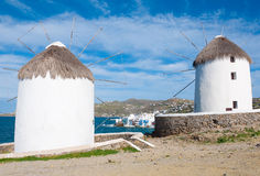 Two windmills of Mykonos on the Little Venice Royalty Free Stock Photography