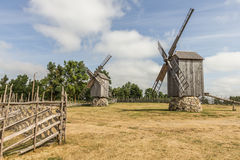 Two Windmills. Photo of 2 windmills at windmill farm on the sunny day Stock Photography