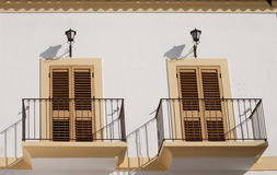 Two window with balcony Stock Images