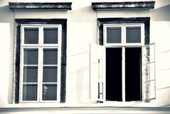 Two window on the house stock photos