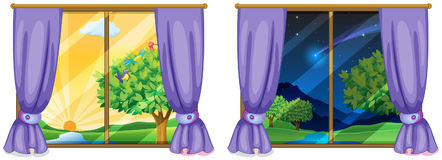 Two window scenes day and night. Illustration stock illustration