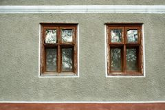 Two windows. Windows of a traditional house in a village of Misca near Arad city, Romania Royalty Free Stock Photos