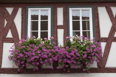 Two windows on the ancient half-timbered house . Europe Royalty Free Stock Photography