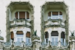 Two windows with balconies royalty free stock image