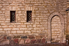 Two Windows And A Blocked Doorway Stock Photos