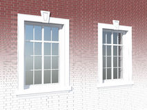 Two windows in a brick wall Royalty Free Stock Images