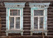Facade of old wooden house royalty free stock image