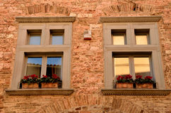 Two windows with flowerpots Royalty Free Stock Image
