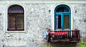 Two windows on old building in Crimia, Yalta Stock Image