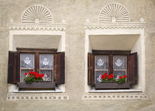 Two windows at an old building Stock Image