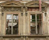 Two windows of an old ruined villa. Two windows of an ancient ruined villa Royalty Free Stock Photography