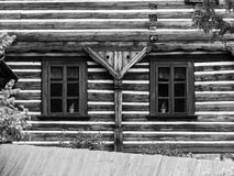 Two windows of old timbered house Stock Images
