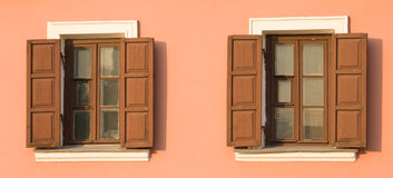 Two windows with open blinds. In a wall Stock Photo