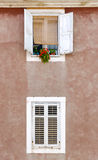 Two Windows. And pink facade in Zadar, Croatia Royalty Free Stock Photography