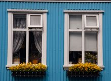 Two windows in Reykjavik - Iceland Stock Photo