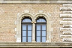 Two windows on the wall. stock photos
