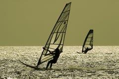 TWO WINDSURFERS. IN Turkey-Surf-Gokceada School Royalty Free Stock Image