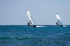 Two windsurfers in action Royalty Free Stock Photography