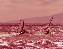 Two windsurfers race at dusk. Two windsurfers racing at day's end on a beach in Maui, Hawaii. Windsurf rigs are popular rentals for tourists at nearby resorts Stock Photos