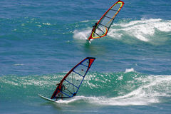 Two Windsurfers Windsurfing in Hawaii royalty free stock photo