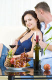 Two and wine Royalty Free Stock Photos