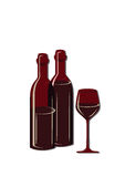 Two wine bottles and glass. Of wine. Vector illustration Royalty Free Illustration
