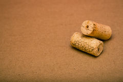 Corks on Brown Background Royalty Free Stock Photo