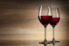 Two Wine glases on a wooden Stock Photos