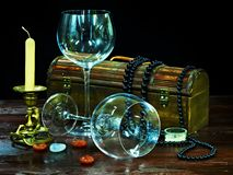 Free Two Wine Glass And Candle. Stock Photography - 21534032