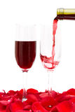Two Wine Glass And Red Rose Petals Stock Image