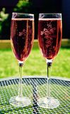 Two Wine Glass on Grey Metal Round Table Stock Images