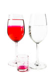 Two wine glass and small glass Royalty Free Stock Photo
