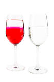 Two wine glass and water Stock Photos