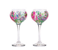 Two wine glasses with acrylic drawings. Stock Photography